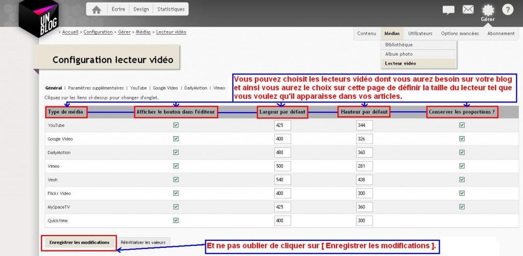 Tutoriel Vidéo : comment insérer des vidéos avec un lien court en Http et pas en Https sur vos blogs avec des options paramétrables, sans insérer un code embed dans Tutoriel Vidéo Configiration-des-lecteurs-vid%C3%A9o-1024x502